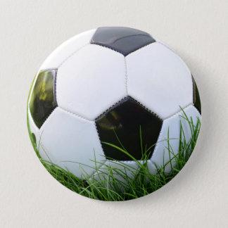 Soccer Ball in the Summer Grass Pinback Button