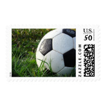 Soccer Ball in the Wet Grass Sport Stamp