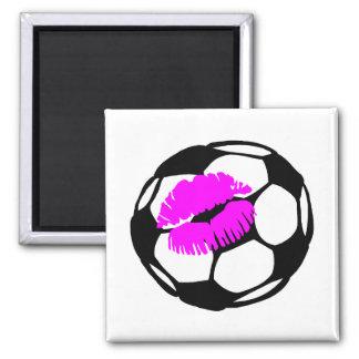 Soccer Ball Kiss 2 Inch Square Magnet