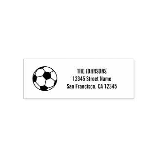 Soccer ball logo self inking return address stamps