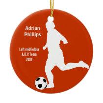 Soccer ball navy orange ornament