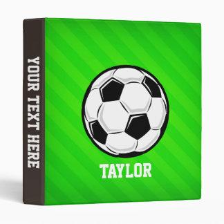 Soccer Ball; Neon Green Stripes 3 Ring Binder