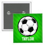 Soccer Ball; Neon Green Stripes 2 Inch Square Button
