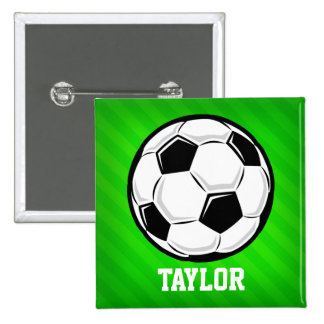 Soccer Ball; Neon Green Stripes Button