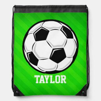Soccer Ball; Neon Green Stripes Cinch Bags