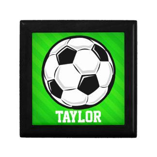 Soccer Ball; Neon Green Stripes Trinket Box