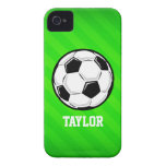 Soccer Ball; Neon Green Stripes iPhone 4 Covers