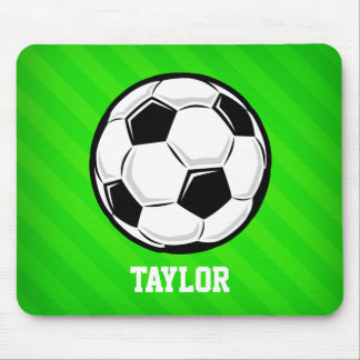 Soccer Ball; Neon Green Stripes Mouse Pad