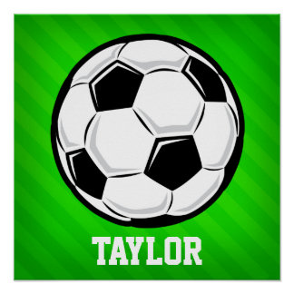 Soccer Ball; Neon Green Stripes Poster