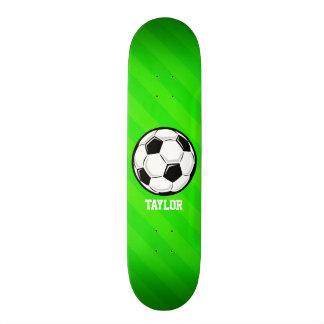 Soccer Ball; Neon Green Stripes Skateboard