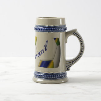 Soccer Ball of Brazil 2014 with national flags Beer Stein