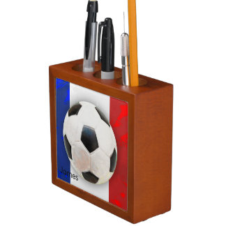 Soccer Ball on a French Flag Desk Organizer