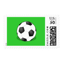 Soccer Ball On A Green Background Postage