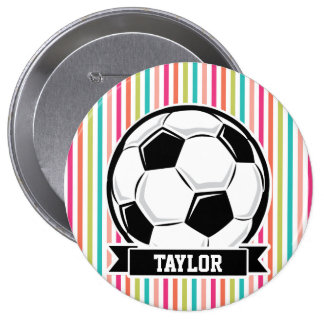 Soccer Ball on Colorful Stripes 4 Inch Round Button