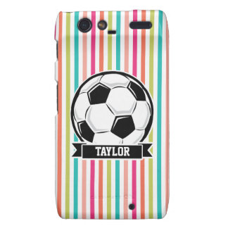 Soccer Ball on Colorful Stripes Droid RAZR Cases