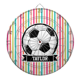 Soccer Ball on Colorful Stripes Dart Board