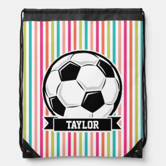 Soccer Ball on Colorful Stripes Drawstring Bags