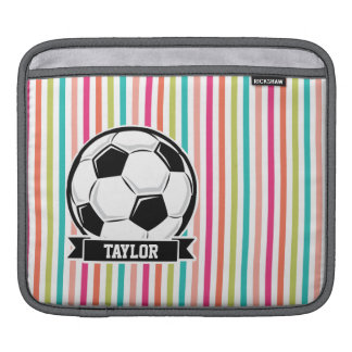 Soccer Ball on Colorful Stripes iPad Sleeve
