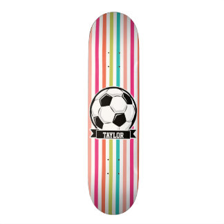 Soccer Ball on Colorful Stripes Custom Skate Board