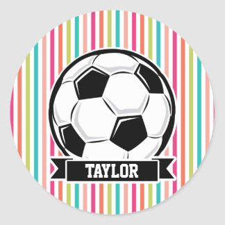 Soccer Ball on Colorful Stripes Round Sticker