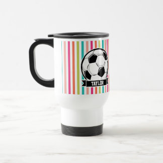 Soccer Ball on Colorful Stripes Travel Mug