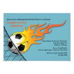 Soccer Ball On Fire Birthday Party Invitation