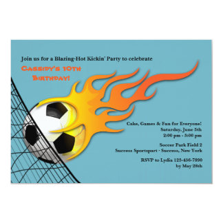 Soccer Ball On Fire Birthday Party Invitation