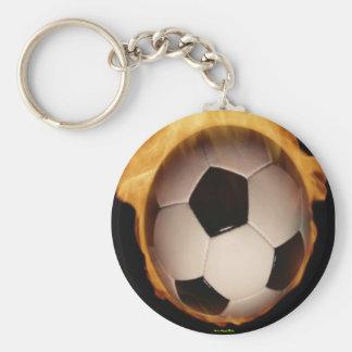 Soccer Ball On Fire Keychain