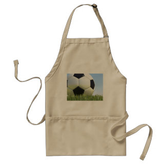 Soccer ball on grass. adult apron