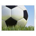Soccer ball on grass. card