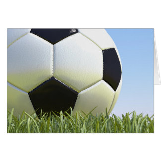 Soccer ball on grass. stationery note card