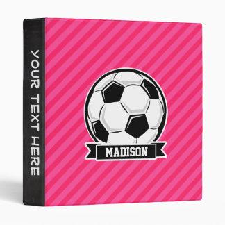 Soccer Ball on Neon Pink Stripes 3 Ring Binder
