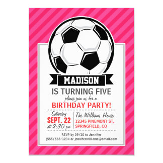 Soccer Ball on Neon Pink Stripes 5x7 Paper Invitation Card