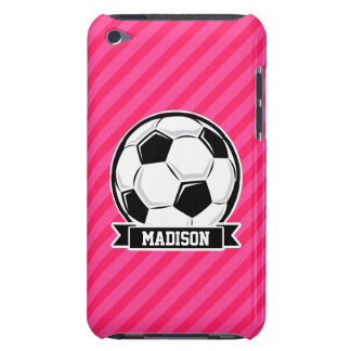 Soccer Ball on Neon Pink Stripes Barely There iPod Case