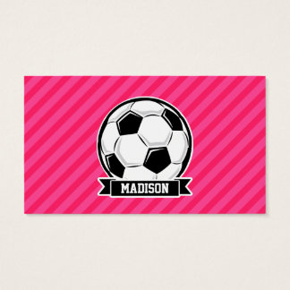 Soccer Ball on Neon Pink Stripes Business Card
