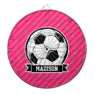 Soccer Ball on Neon Pink Stripes Dartboards