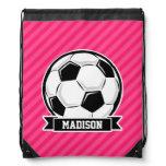 Soccer Ball on Neon Pink Stripes Drawstring Bag