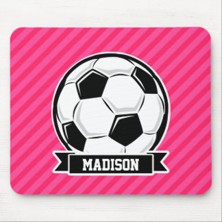 Soccer Ball on Neon Pink Stripes Mouse Pad