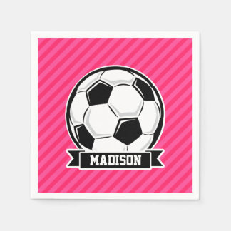 Soccer Ball on Neon Pink Stripes Paper Napkin
