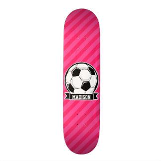 Soccer Ball on Neon Pink Stripes Skateboard