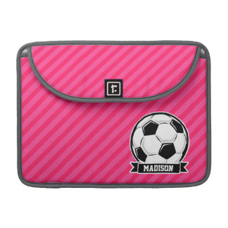 Soccer Ball on Neon Pink Stripes Sleeve For MacBook Pro