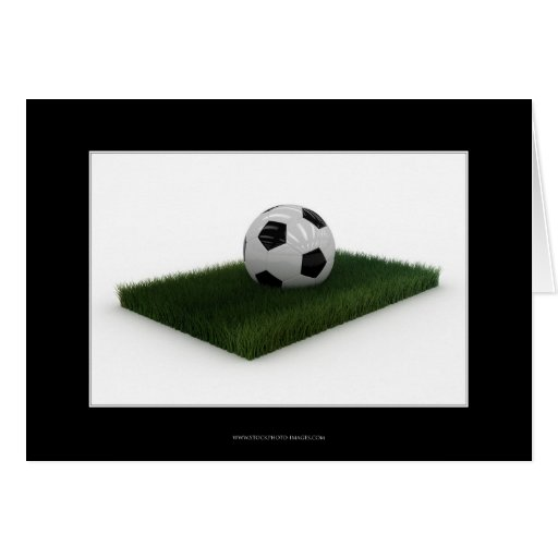 Soccer Ball on patch of lawn - Card