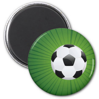 Soccer Ball on Rays Background2 2 Inch Round Magnet