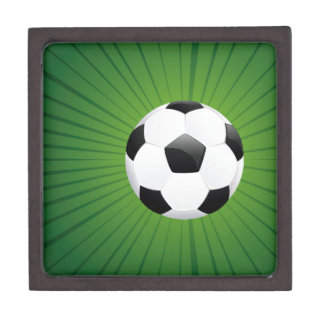 Soccer Ball on Rays Background2 Jewelry Box