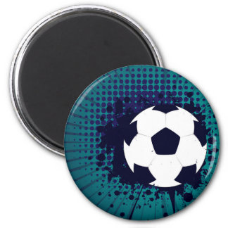 Soccer Ball on Rays Background 2 2 Inch Round Magnet