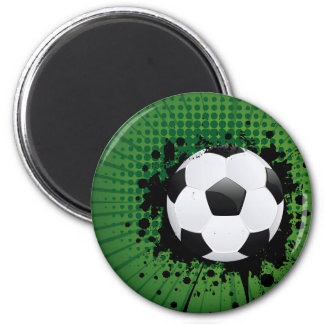 Soccer Ball on Rays Background 2 Inch Round Magnet