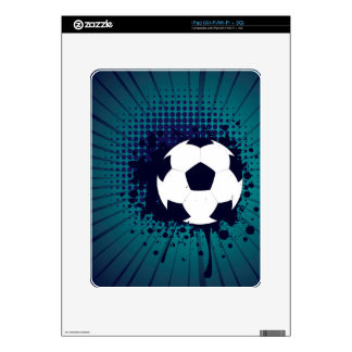 Soccer Ball on Rays Background 2 iPad Skins