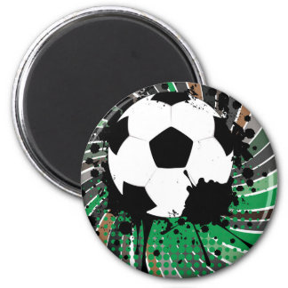Soccer Ball on Rays Background 3 2 Inch Round Magnet