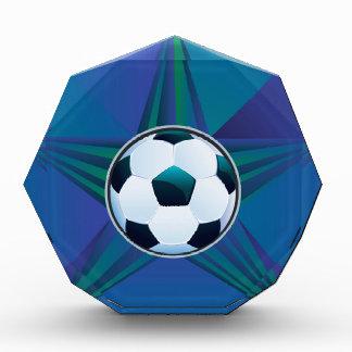 Soccer Ball on Rays Background Acrylic Award