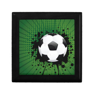 Soccer Ball on Rays Background Jewelry Box